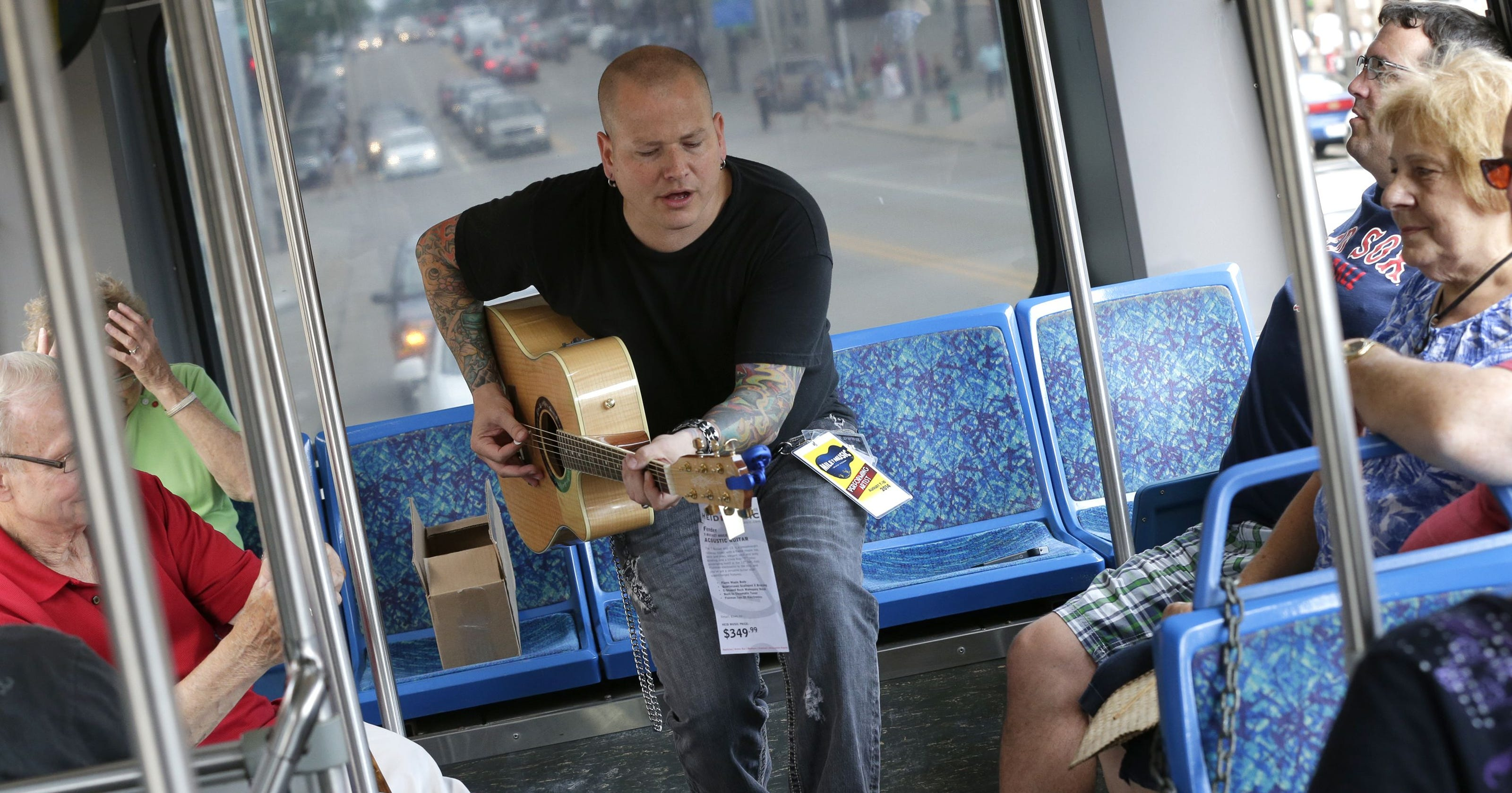 Guitar on bus